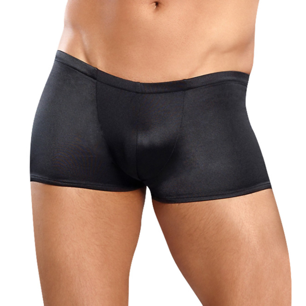 Male Power Satin Low-Cut Lycra Boxer Briefs Medium Black - View #1