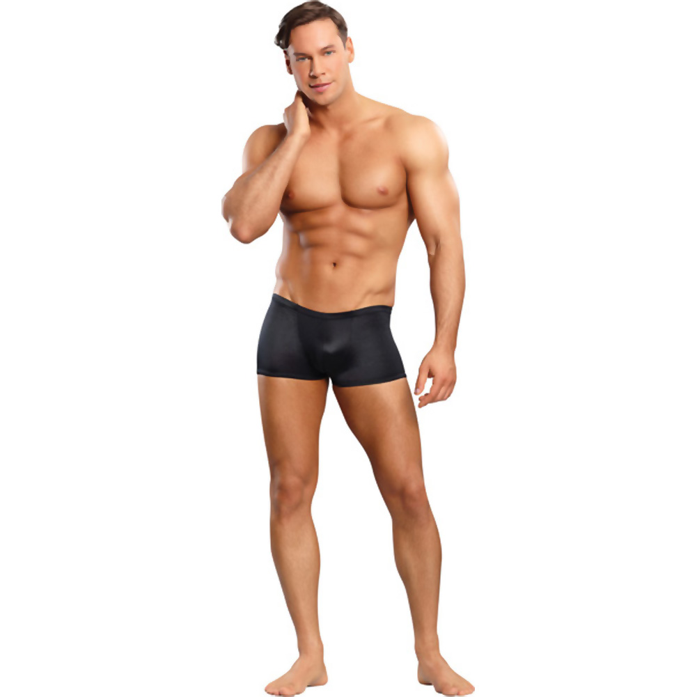 Male Power Satin Low-Cut Lycra Boxer Briefs Medium Black - View #3