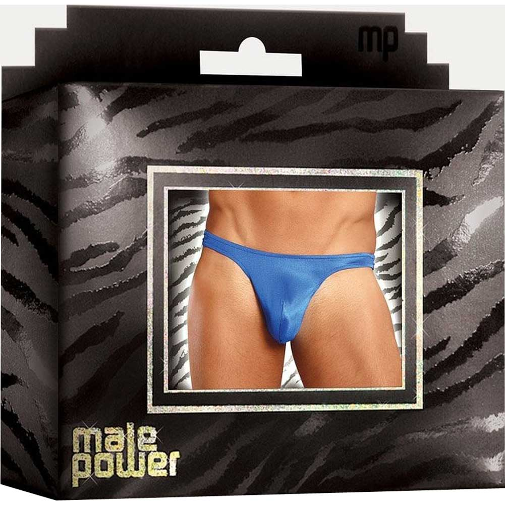 Male Power Sexy Satin Bong Thong Small/ Medium Racy Blue - View #3