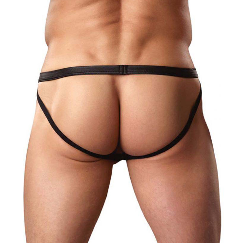 Male Power Color Block Cire Zipper Jockstrap Large/Extra Large Wine/Black - View #2