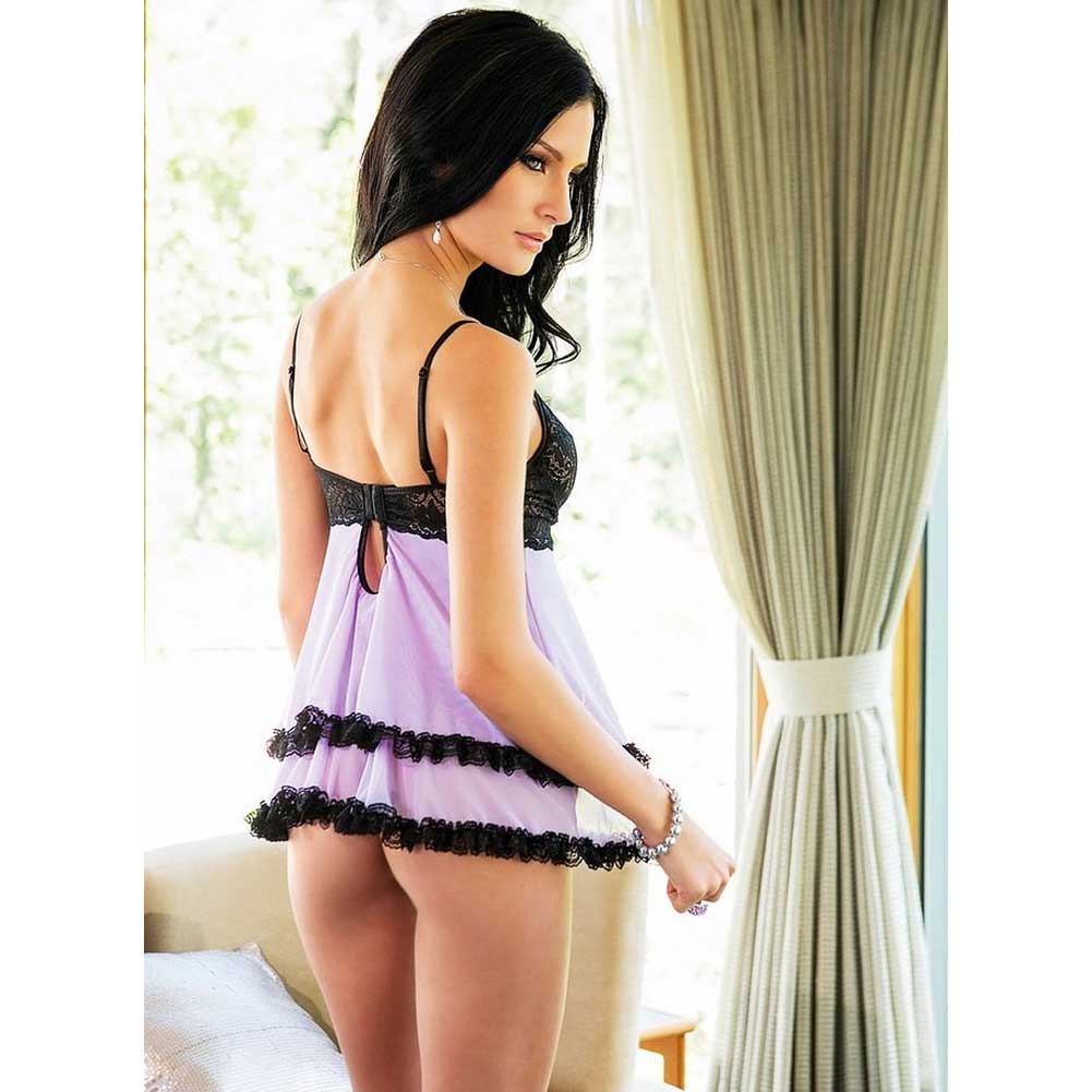 Coquette Scalloped Stretch Lace and Mesh Babydoll and G-String Set Large Lilac/Black - View #2