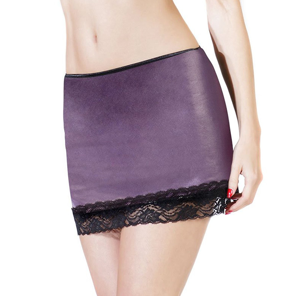 Coquette Lingerie Darque Wet Look Skirt with Scalloped Stretch Lace Trim Extra Large Purple - View #1