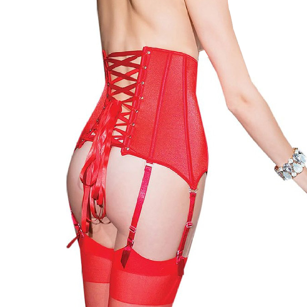 Coquette Lingerie Fully Boned Stretch Knit Waist Cincher with Lace-Up Back Small Red - View #1