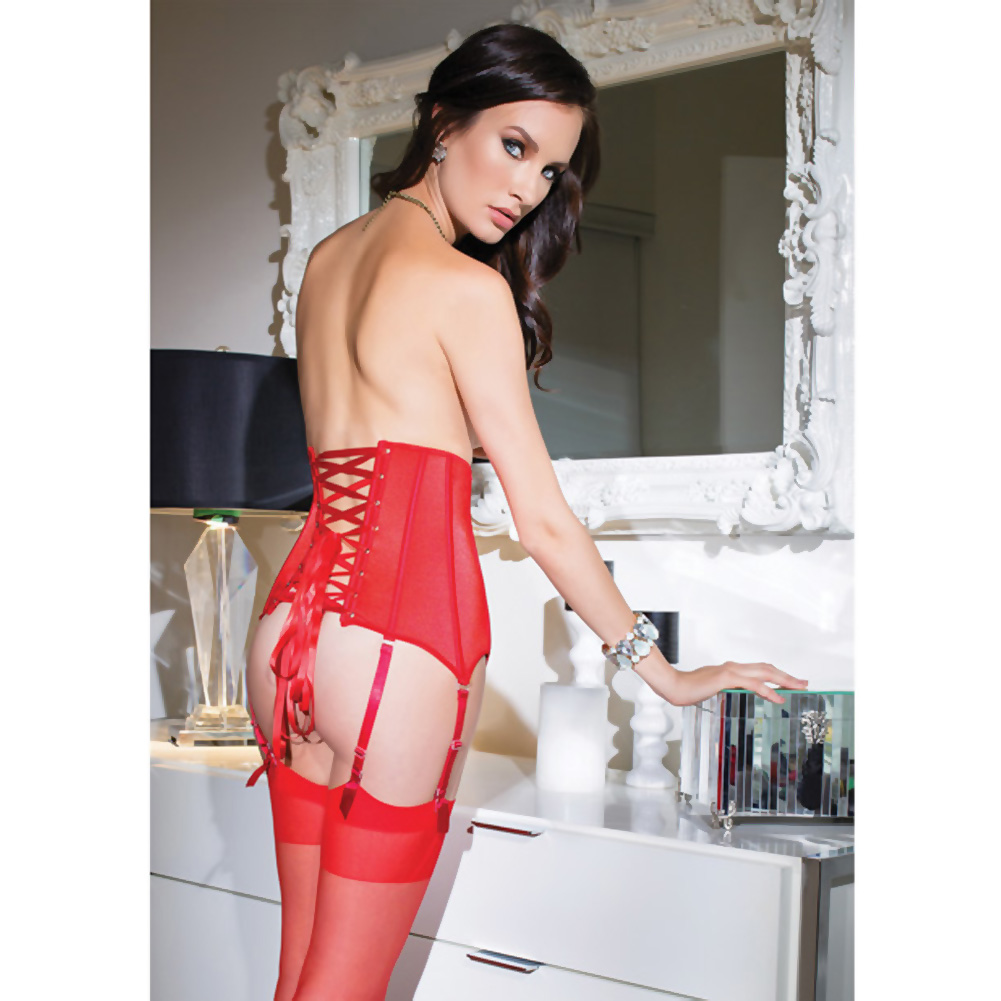 Coquette Lingerie Fully Boned Stretch Knit Waist Cincher with Lace-Up Back Small Red - View #3