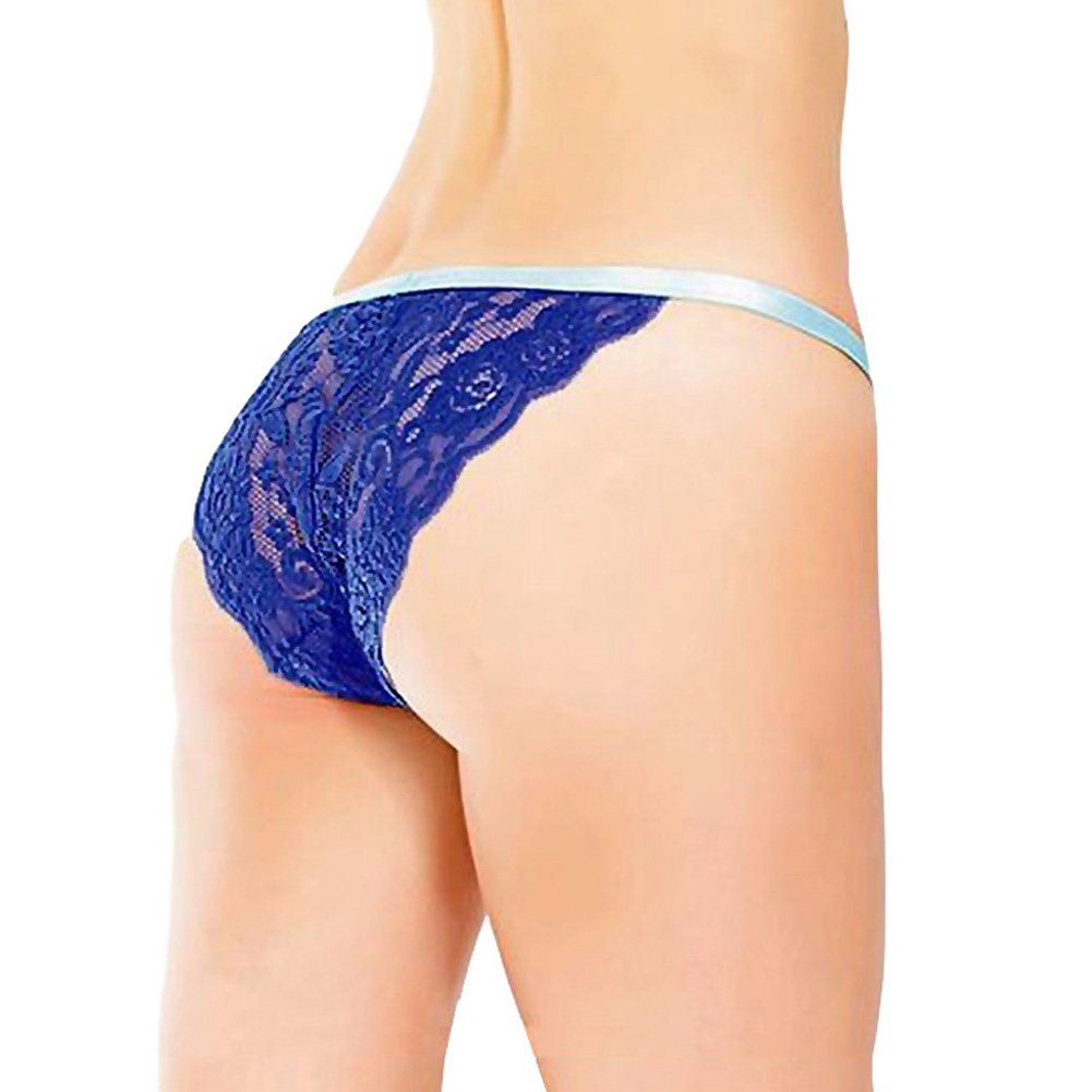 Coquette Lingerie Crotchless Lace Panty with Contrasting Waistband One Size Cobalt/Aqua - View #2