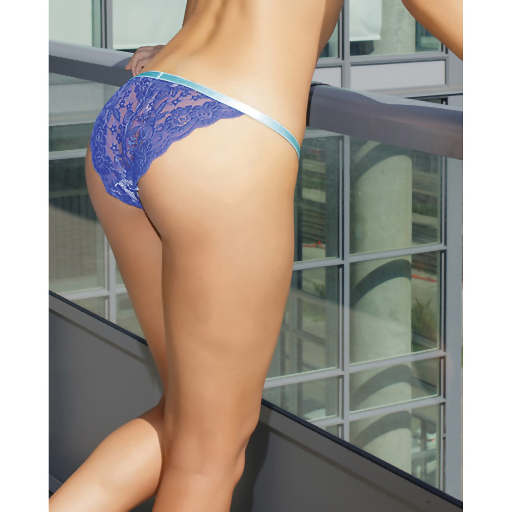 Coquette Lingerie Crotchless Lace Panty with Contrasting Waistband One Size Cobalt/Aqua - View #4