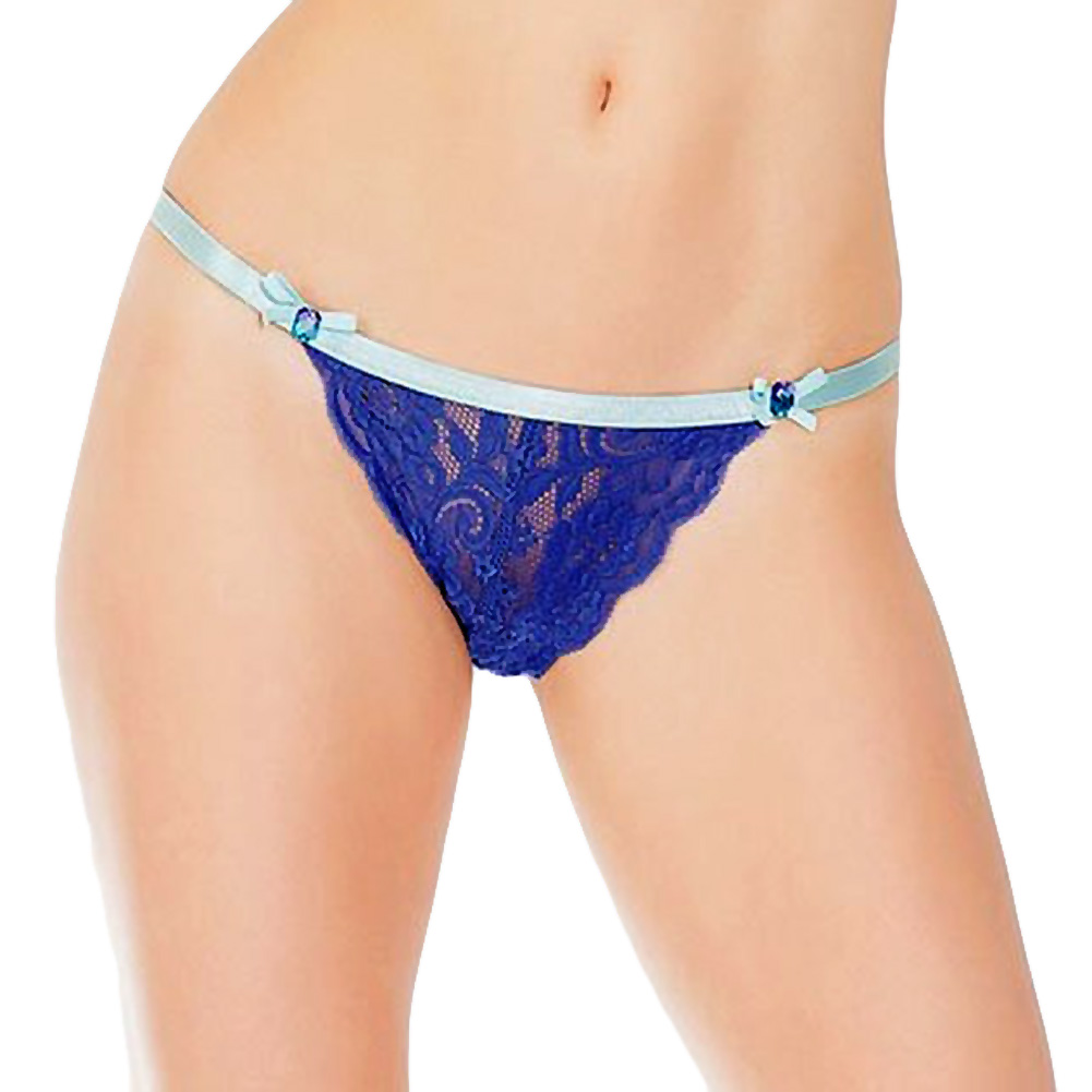 Coquette Lingerie Crotchless Lace Panty with Contrasting Waistband X-Large Cobalt/Aqua - View #1