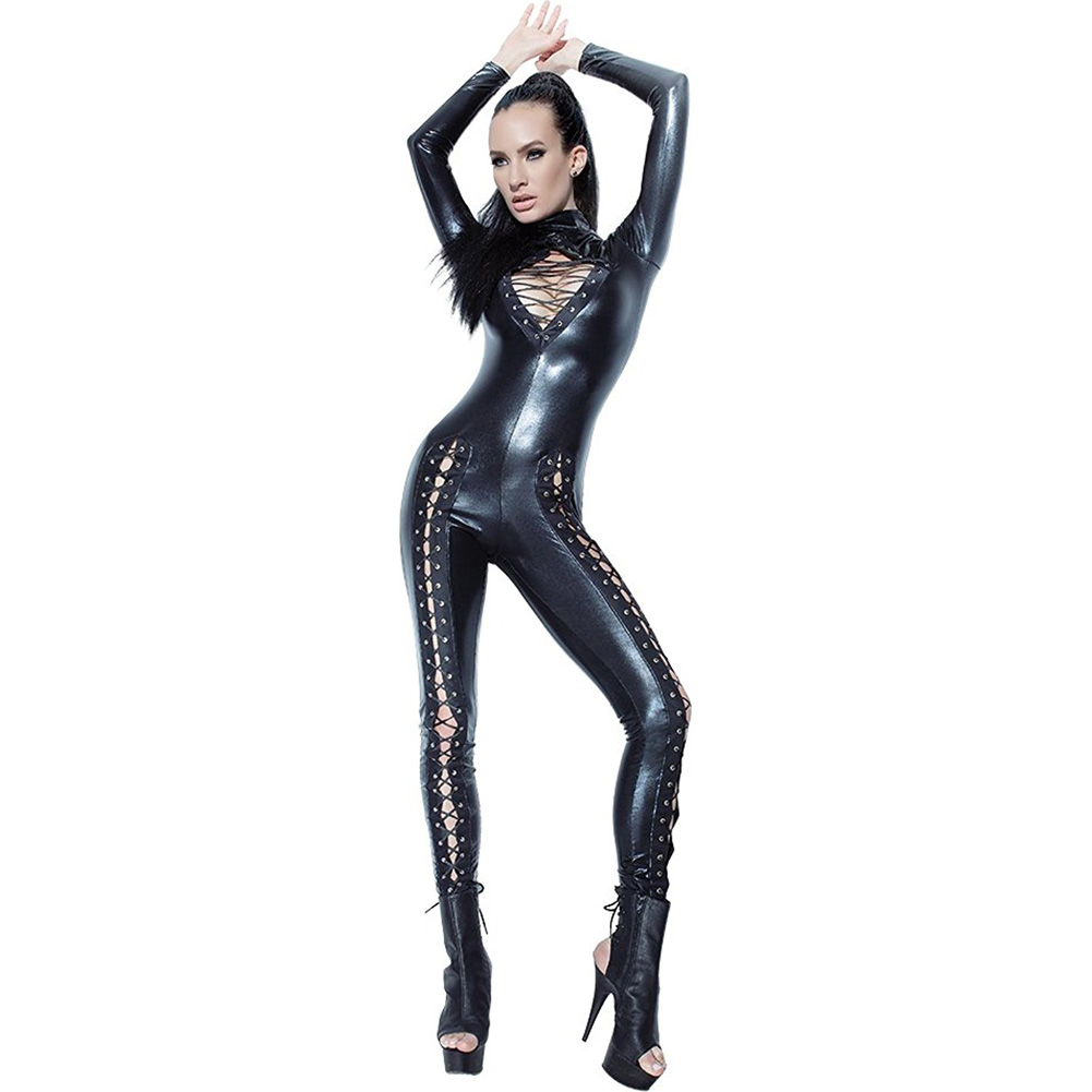 Coquette Lingerie Darque Wet Look Jumpsuit with Lace Detail and Back Zipper Closure Small Black - View #1