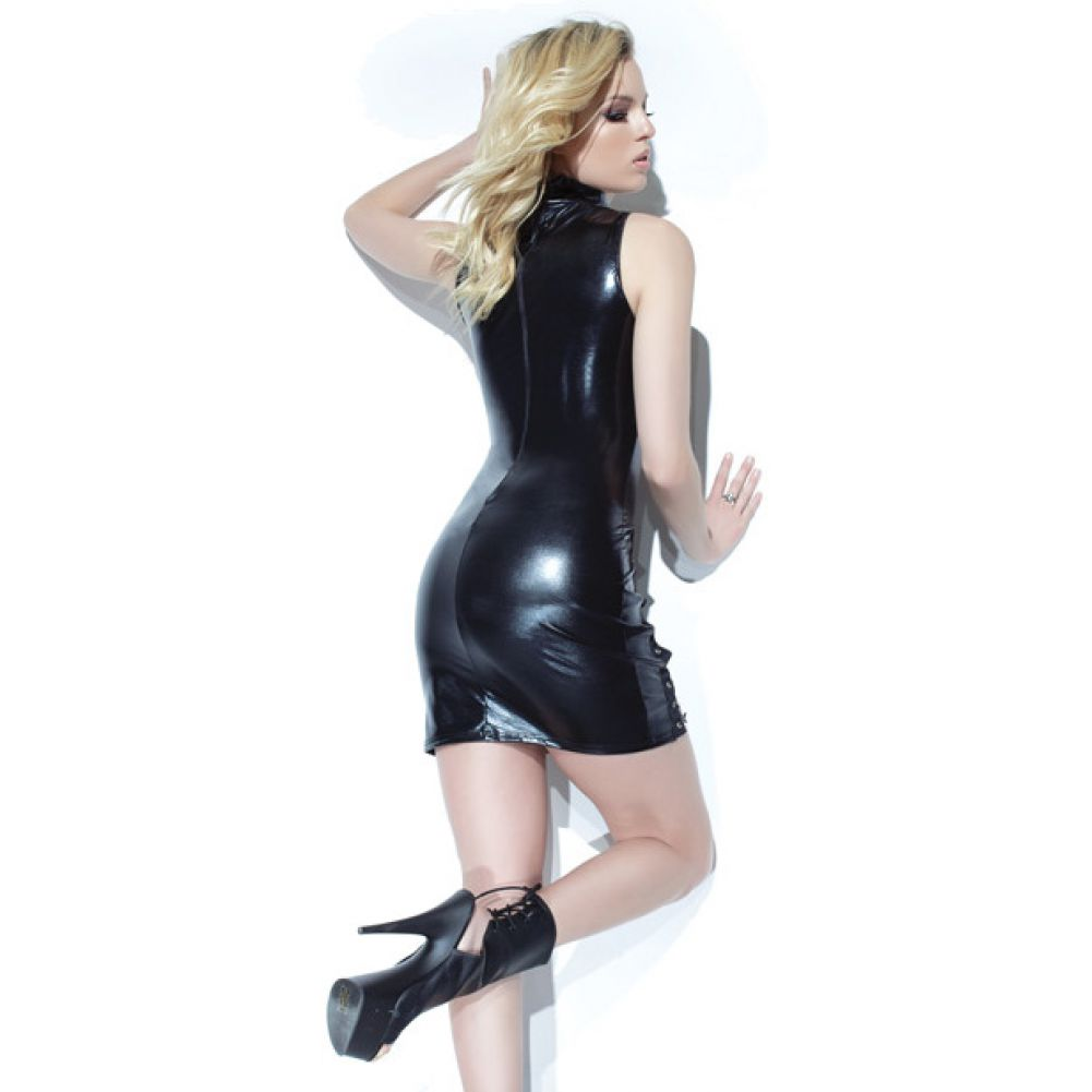 Coquette Lingerie Darque Wet Look Sleeveless Dress with Lace Detail and Back Closure X Large Black - View #1