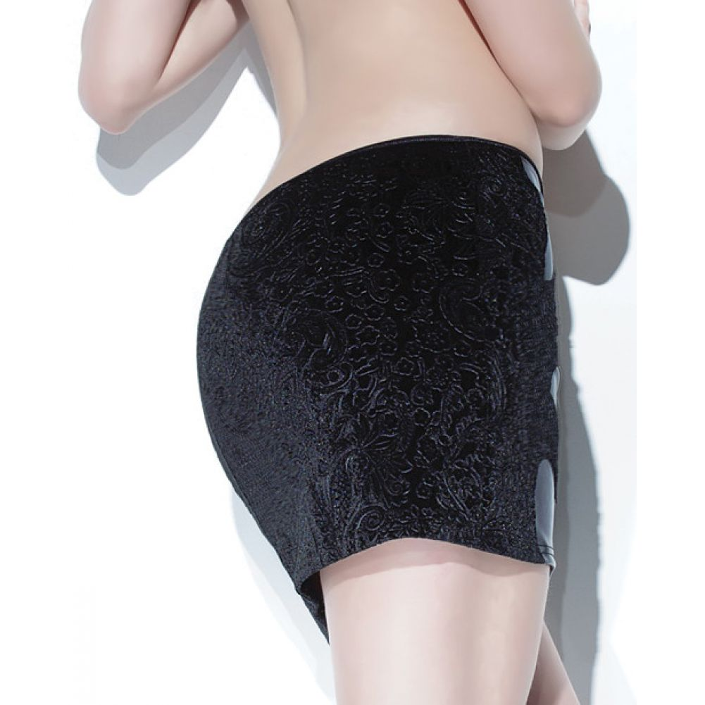 Coquette Lingerie Darque Matte Wet Look Skirt with Embossed Velvet Back 1X/2X Black - View #1