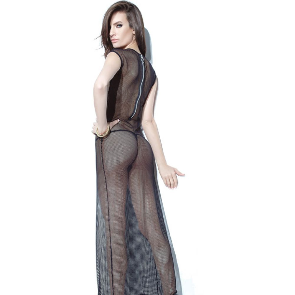 Coquette Lingerie Darque Fishnet Gown with Back Zipper One Size Black - View #2