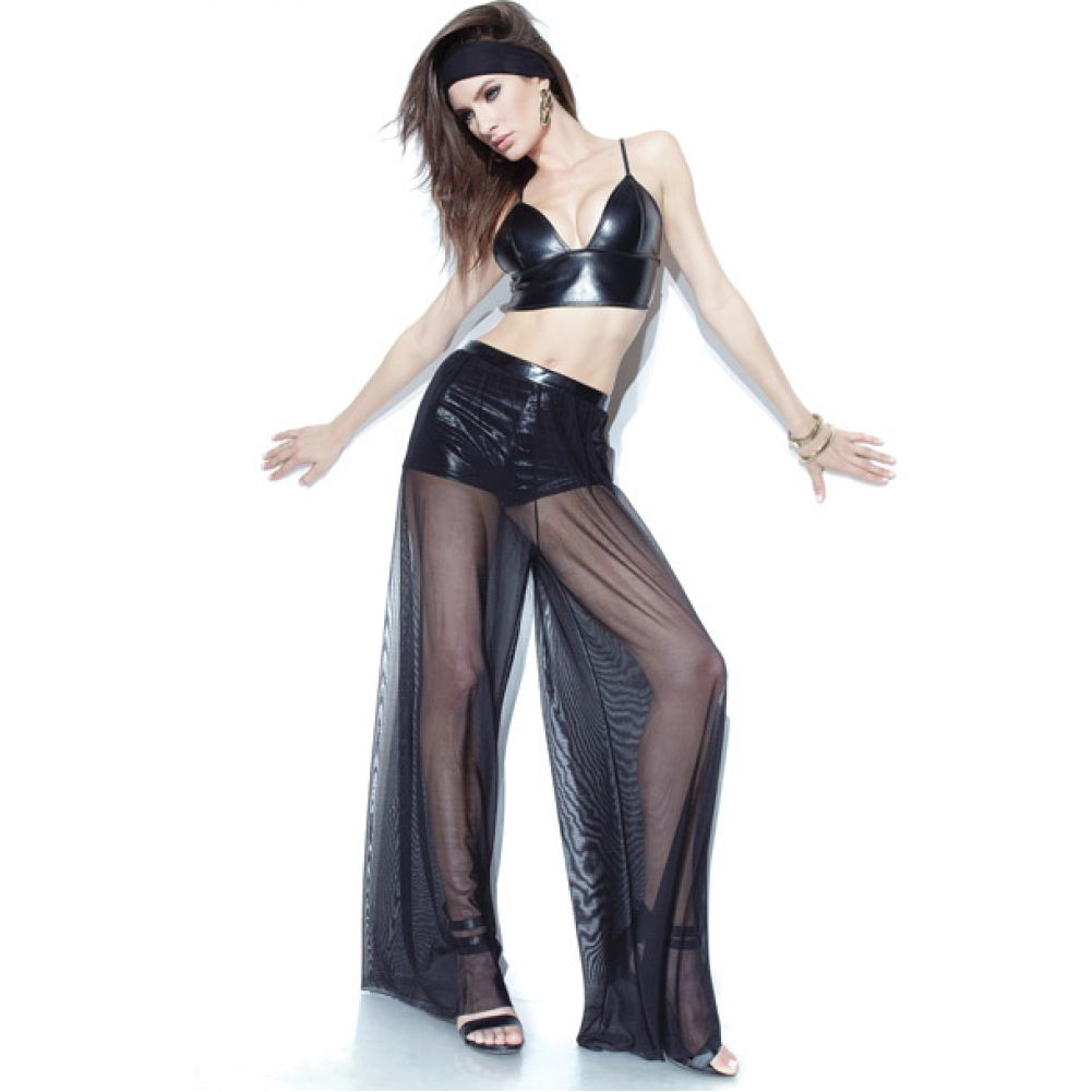 Coquette Lingerie Darque Mesh Wide Leg Pants with Built in Booty Shorts One Size Black - View #2