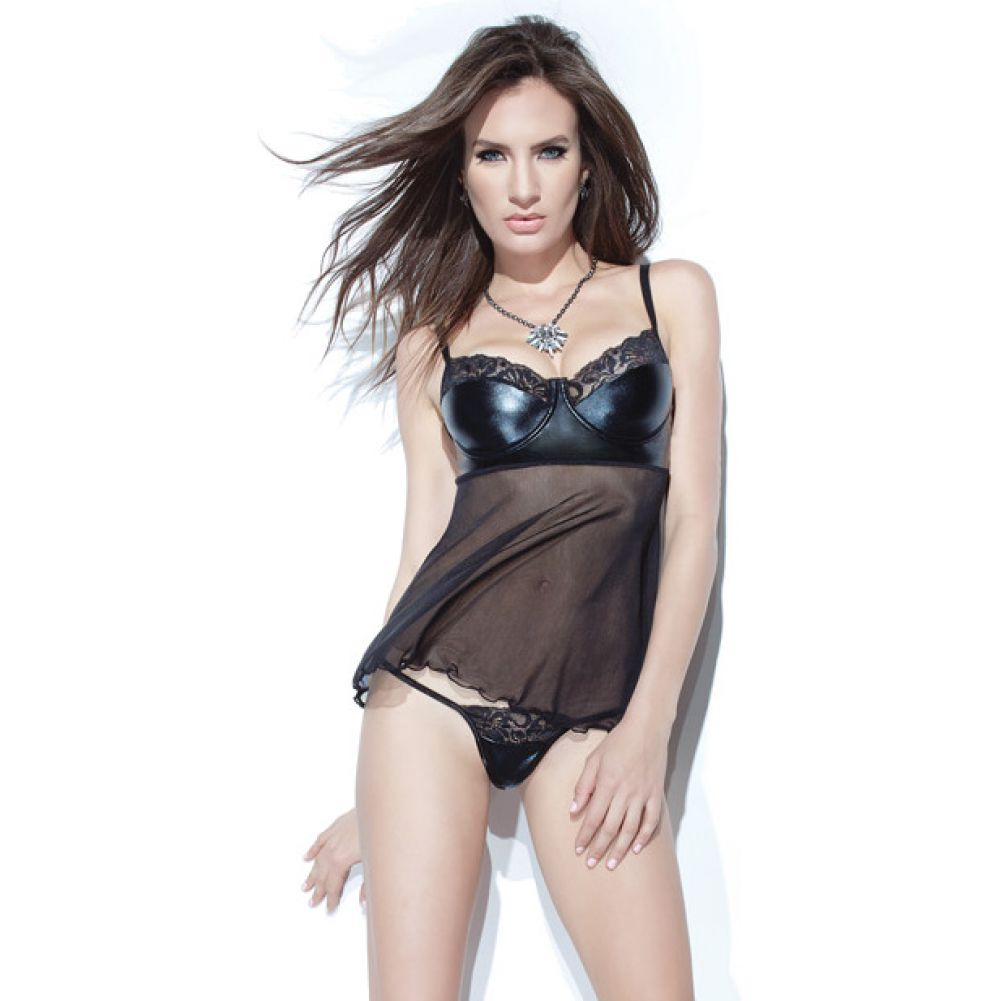 Coquette Lingerie Darque Wet Look Mesh Scalloped Lace Babydoll and G-String Set Small Black - View #1