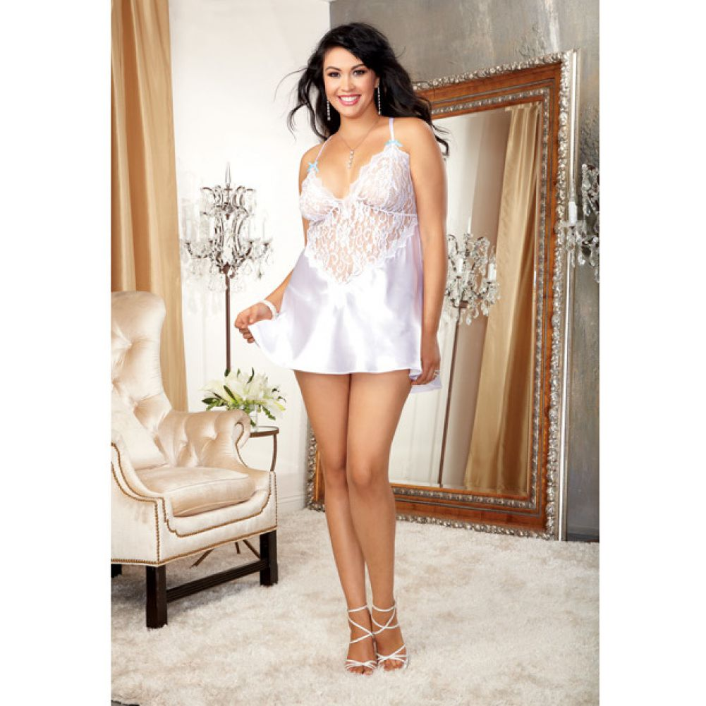 Dreamgirl Nuptial Satin Charmeuse Chemise Set with Scalloped Lace Trim 3X/4X White - View #3