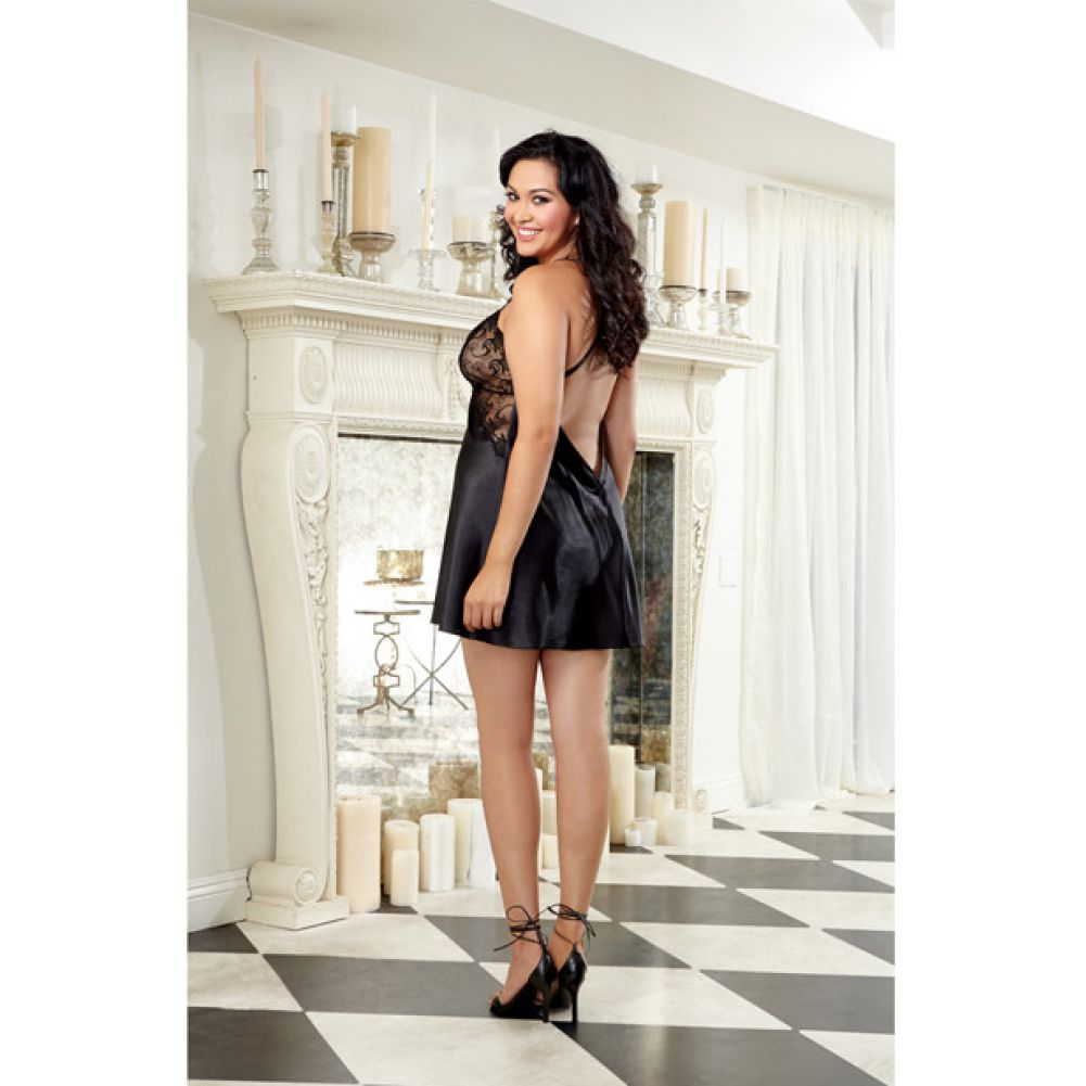 Dreamgirl Lingerie Satin Chemise with Embroidery Cup Criss-Cross Straps Low Back 1X/2X Black - View #4