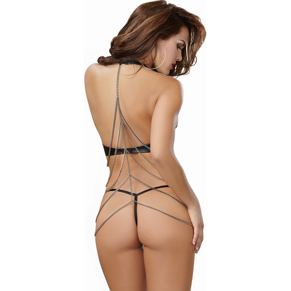 Dreamgirl LingerieFaux Leather Halter G-String Teddy with Open Back and ChainSmall Black - View #2