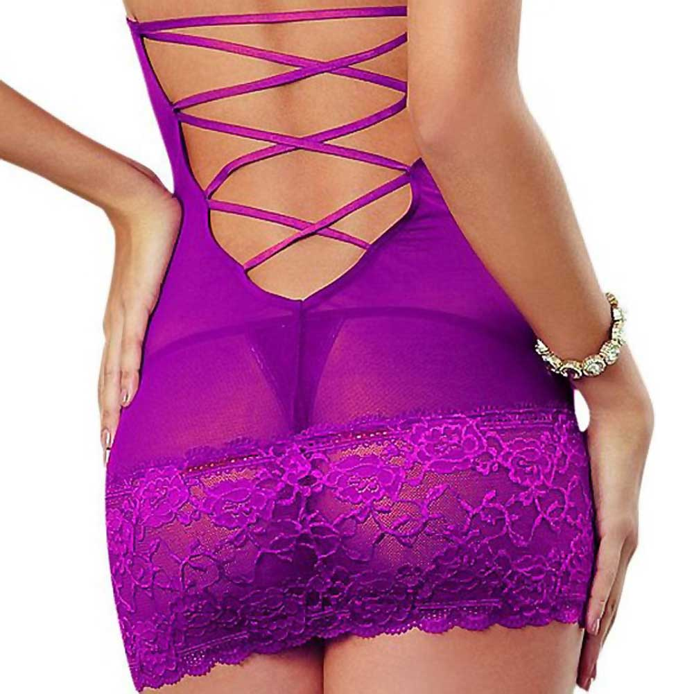Dreamgirl Lingerie Stretch Lace Galloon and Stretch Mesh Spandex Halter Chemise Medium Raspberry - View #4