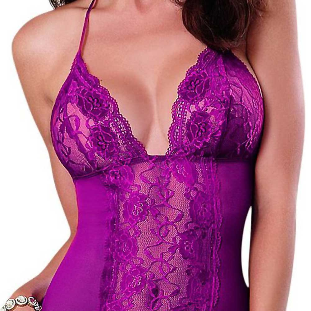 Dreamgirl Lingerie Stretch Lace Galloon and Stretch Mesh Spandex Halter Chemise Large Raspberry - View #3