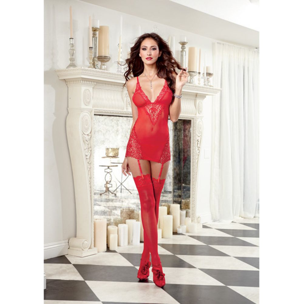 Dreamgirl Lingerie Stretch Mesh Garter Slip with Removable Straps and G-String Large Red - View #3
