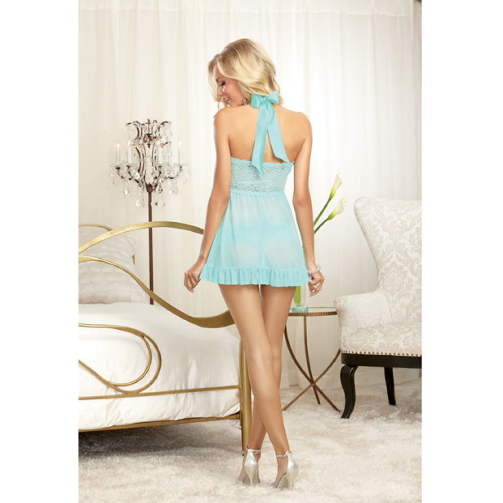 Dreamgirl Stretch Lace Galloon Halter Babydoll and Lace Tanga Panty Small Aqua - View #4