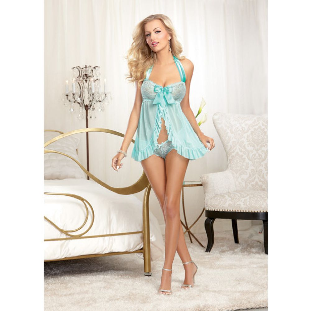 Dreamgirl Stretch Lace Galloon Halter Babydoll and Lace Tanga Panty Medium Aqua - View #3