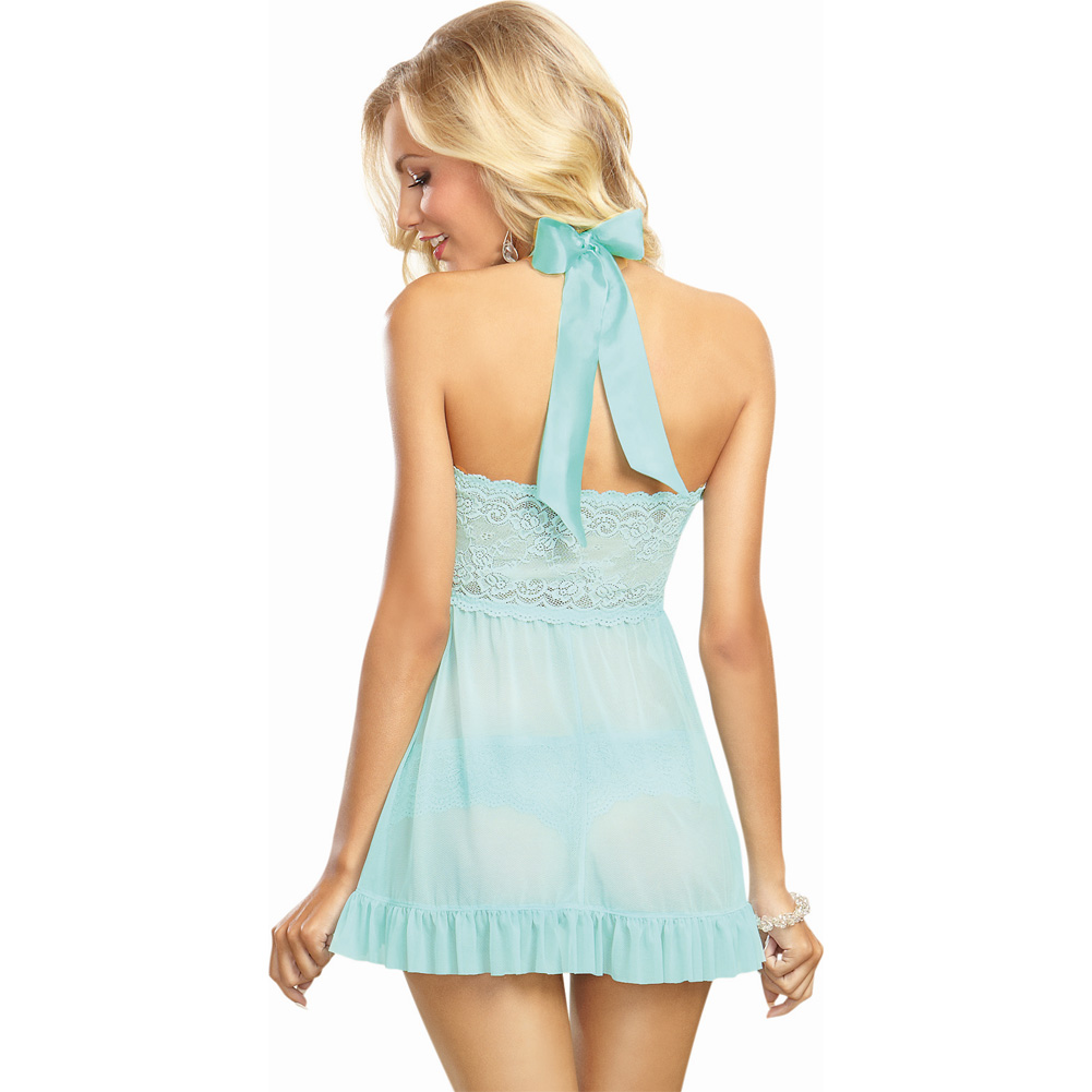 Dreamgirl Stretch Lace Galloon Halter Babydoll and Lace Tanga Panty Large Aqua - View #2