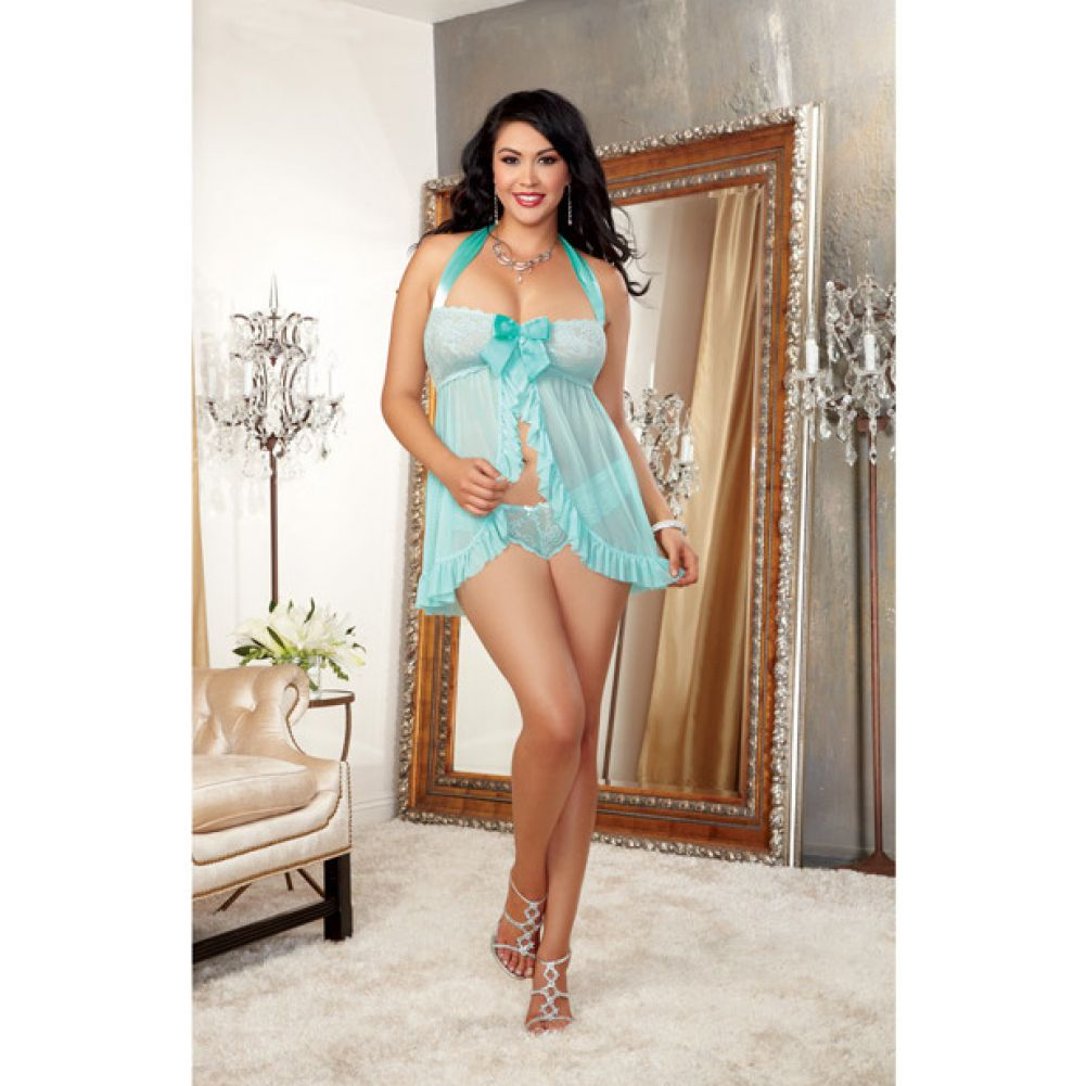 Dreamgirl Stretch Lace Galloon Halter Babydoll and Lace Tanga Panty 3X/4X Aqua - View #3