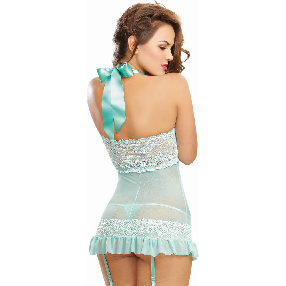 Dreamgirl Lingerie Stretch Lace Galloon Chemise with Garter Straps and Thong Large Aqua - View #2