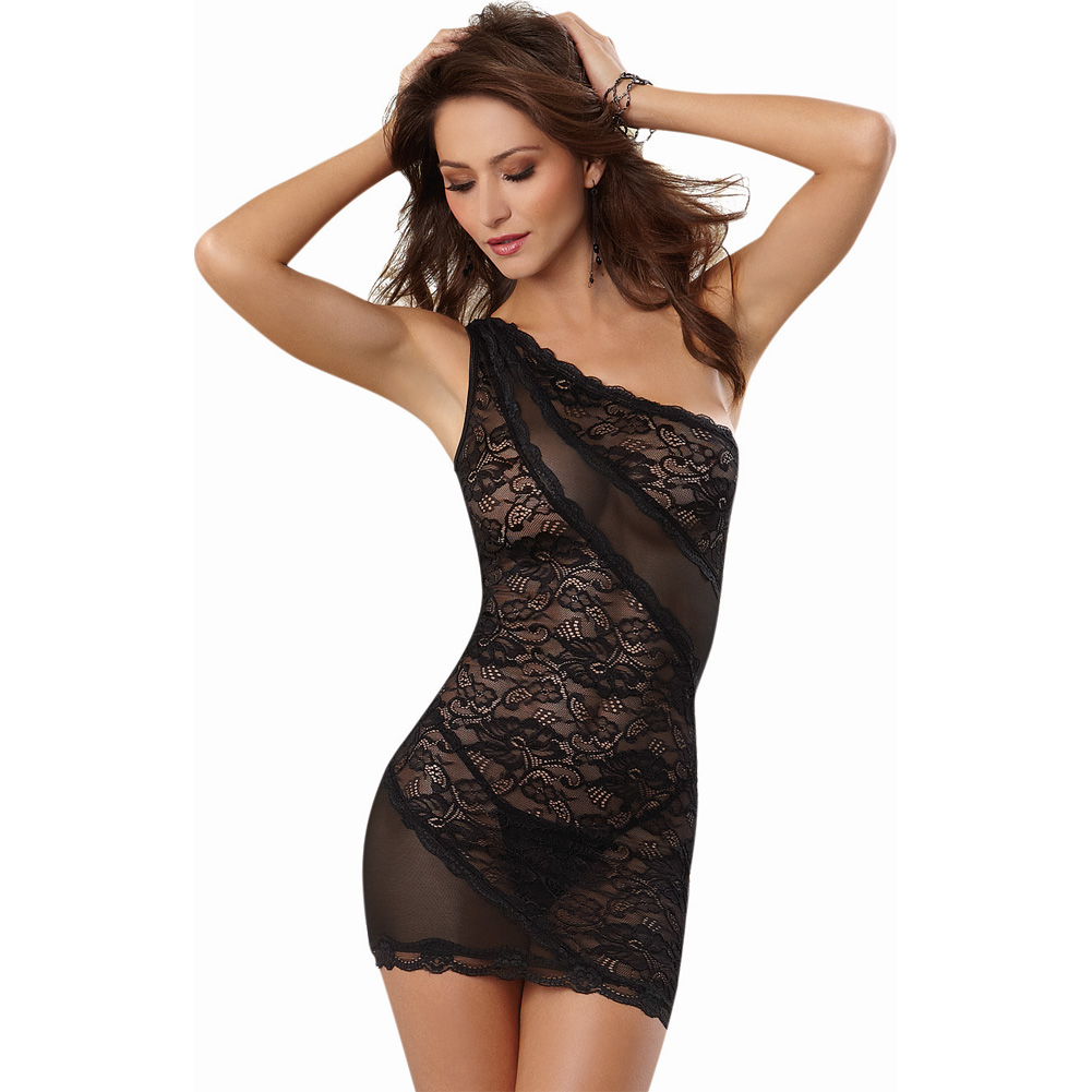 Dreamgirl Lingerie Stretch Lace One Shoulder Chemise with Stretch Mesh and Thong Large Black - View #1