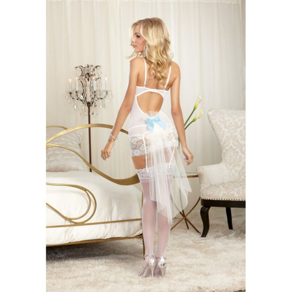 Dreamgirl Lingerie Nuptial Lace Underwire Garter SlipTulle Straps G-String Medium.Pearl - View #3