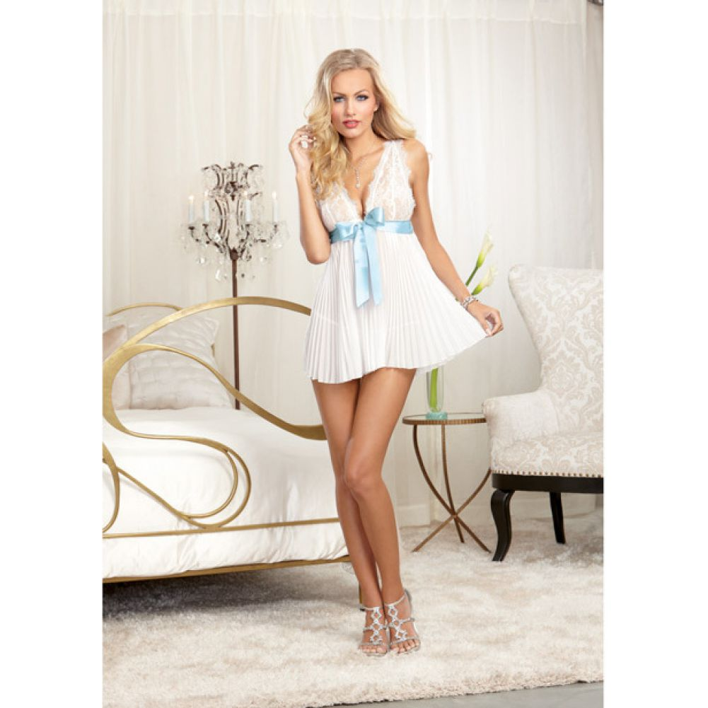 Dreamgirl Lingerie Nuptial Pleated Chiffon Flyaway Babydoll with Open Back Panty Large Pearl - View #3