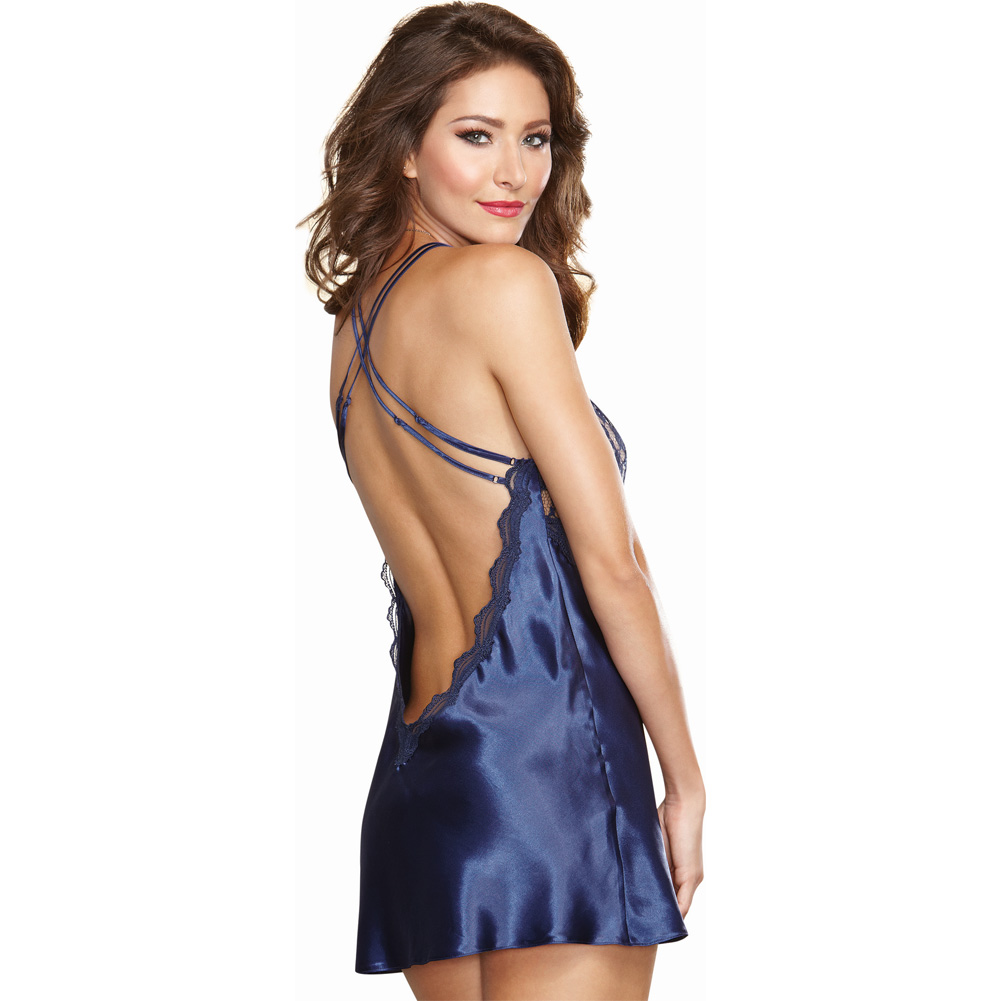 Dreamgirl Satin Charmeuse Chemise and Thong Set with Scalloped Lace Trim Small Midnight - View #2