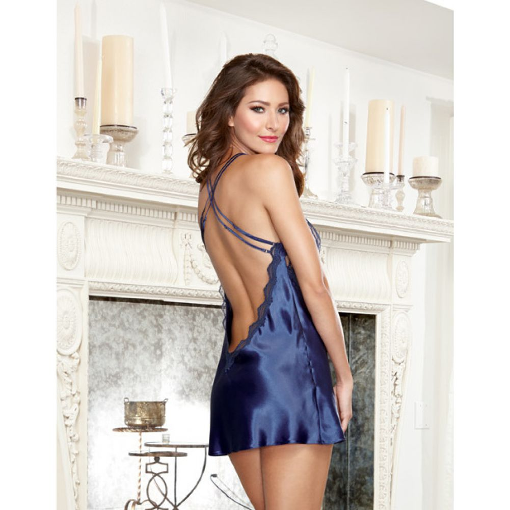 Dreamgirl Satin Charmeuse Chemise and Thong Set with Scalloped Lace Trim Small Midnight - View #4