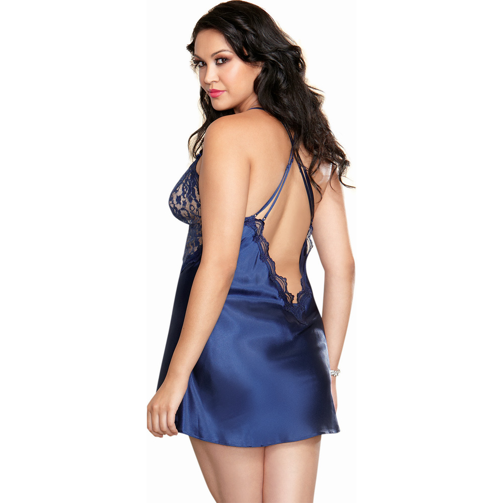 Dreamgirl Satin Charmeuse Chemise and Thong Set with Scalloped Lace Trim 3X/4X Midnight - View #2