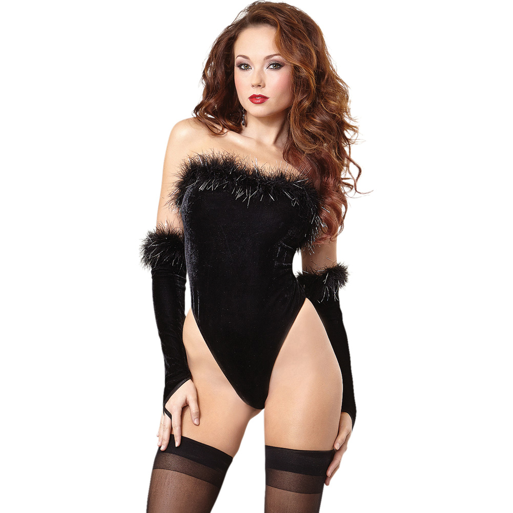 Dreamgirl Lingerie Strapless Velvet Teddy with Snap Crotch Fingerless Gloves One Size Black - View #1