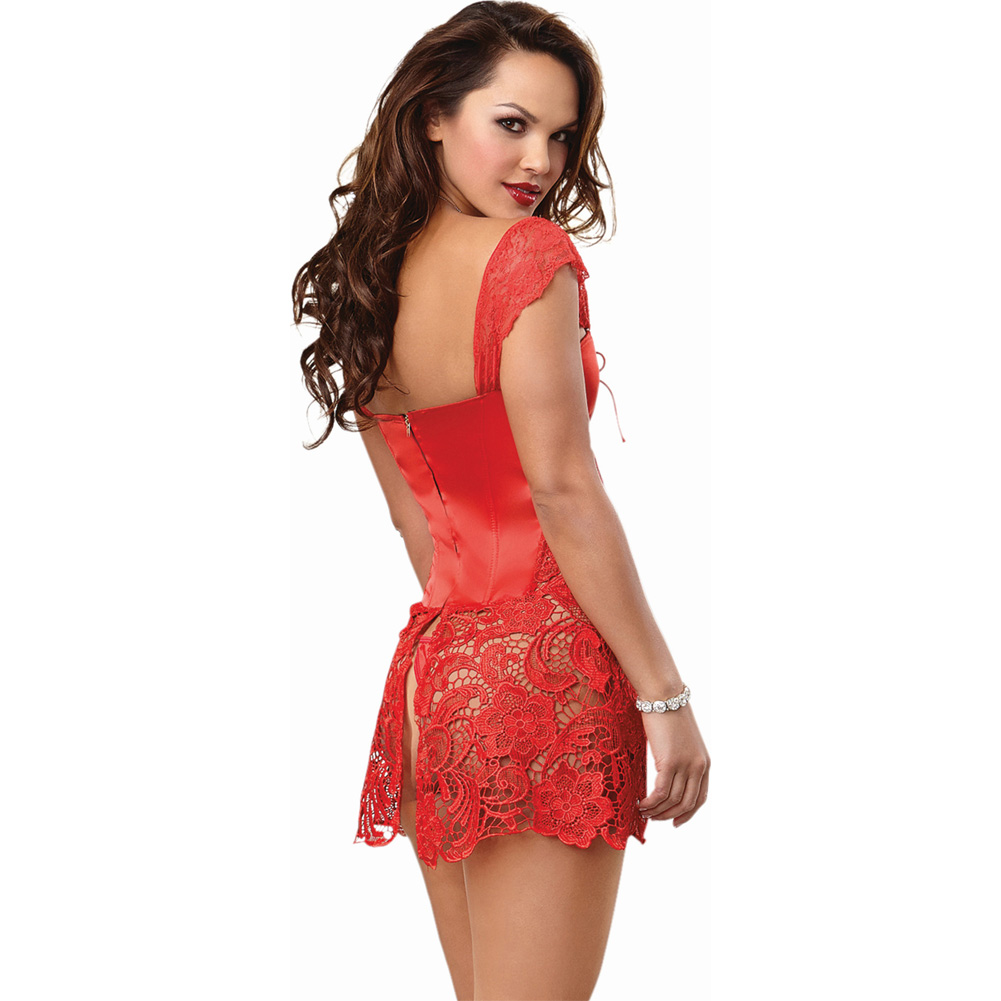 Dreamgirl Lingerie Venice Lace Fully Boned Corset Attached Skirt and Thong 34 Lipstick Red - View #2