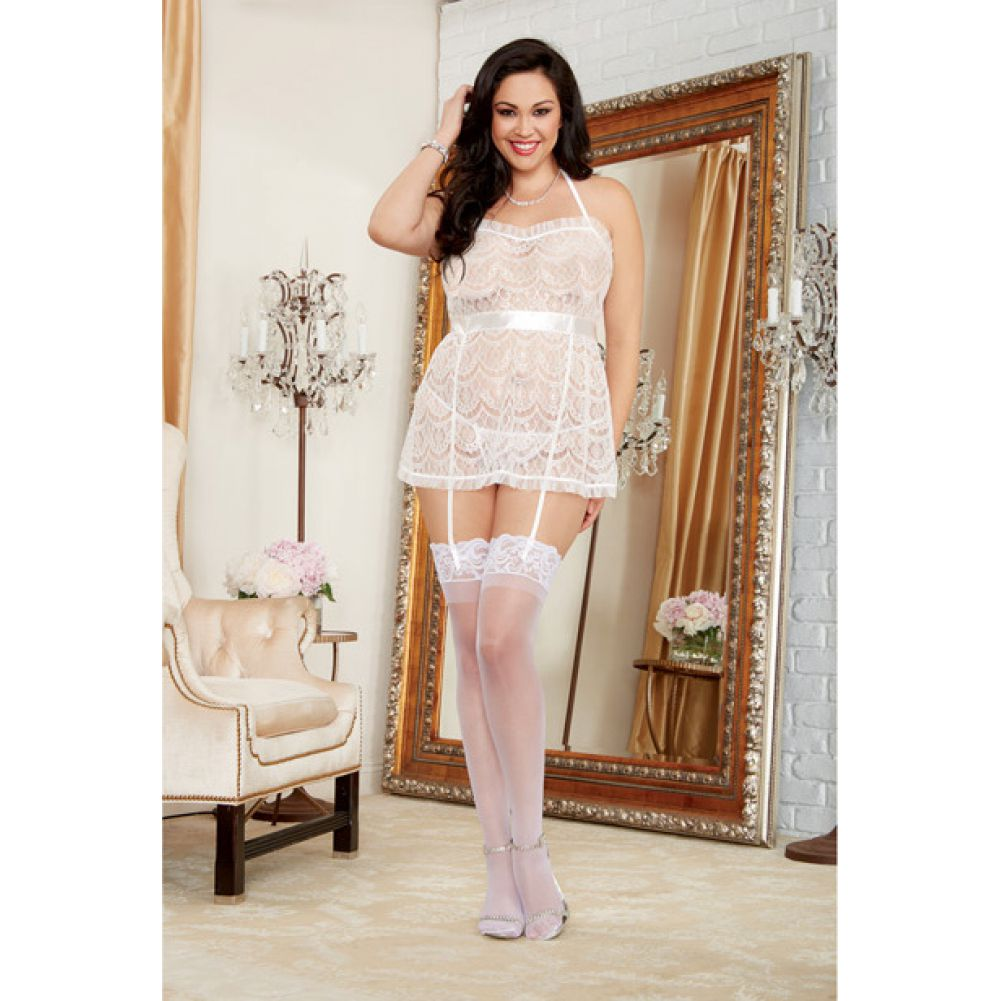 Dreamgirl Lingerie Lace Halter Apron Babydoll with Garter Straps and Panty One Size Queen White - View #3