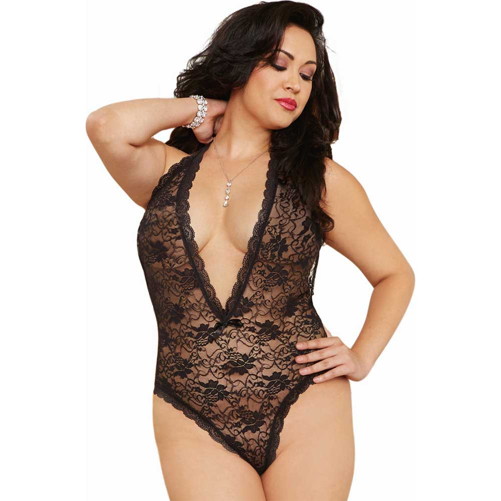 Dreamgirl Halter Lace Teddy with Heart Butt Cut-Out Plus Size Black - View #1