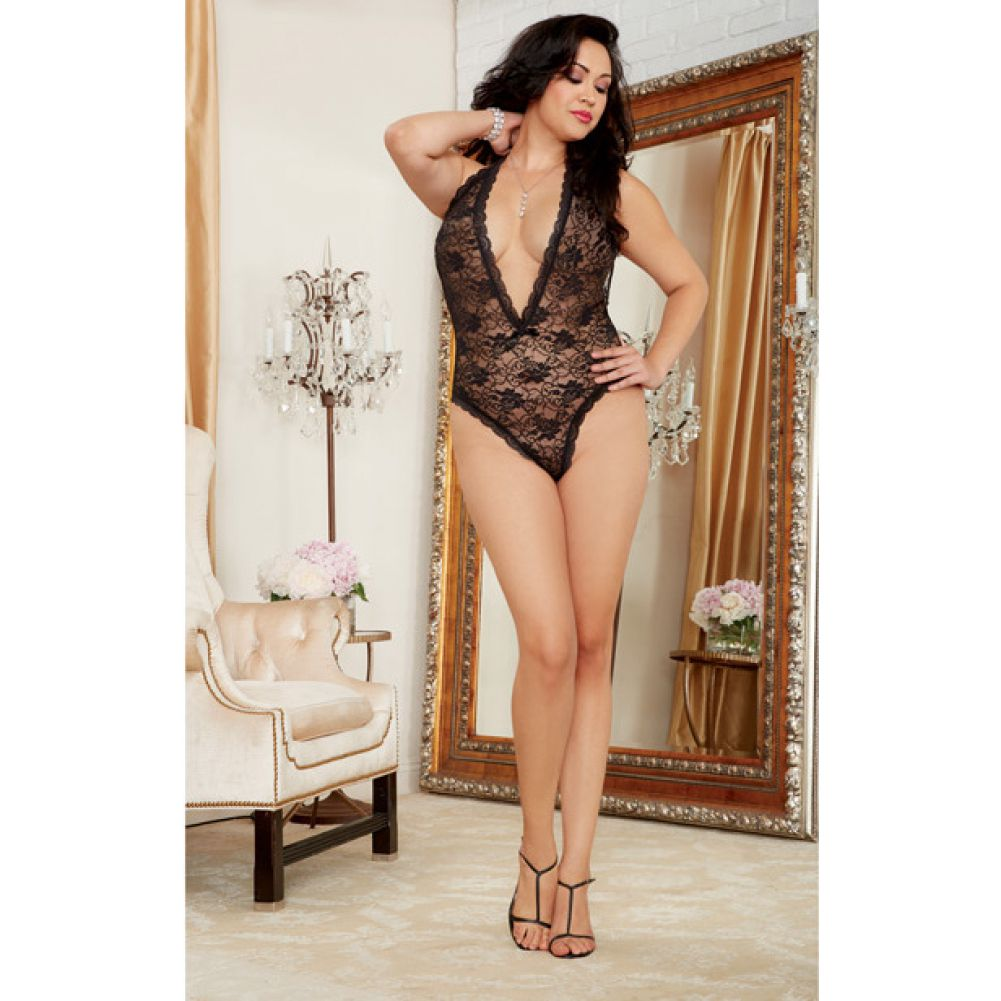 Dreamgirl Halter Lace Teddy with Heart Butt Cut-Out Plus Size Black - View #3