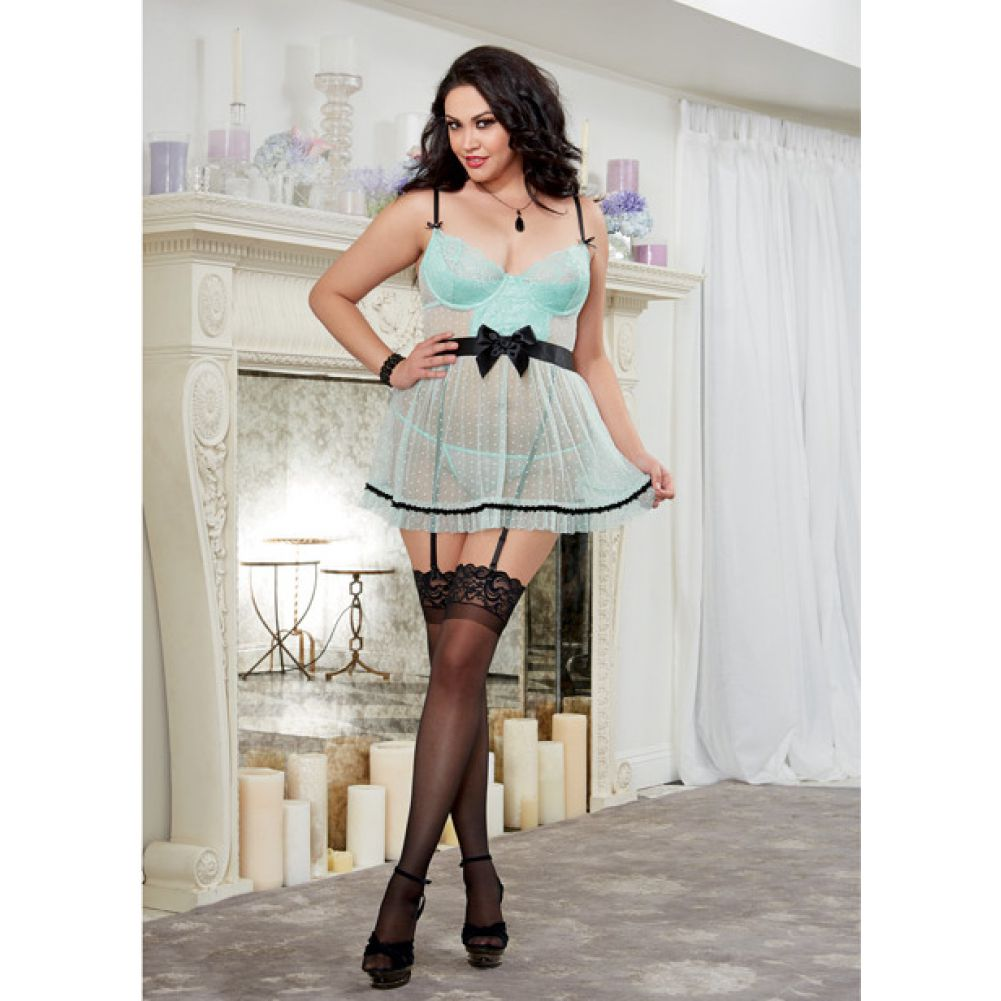 Dreamgirl Stretch Mesh Apron Babydoll with Garter Straps and Thong Plus Size 1X/2X Aqua/Black - View #3