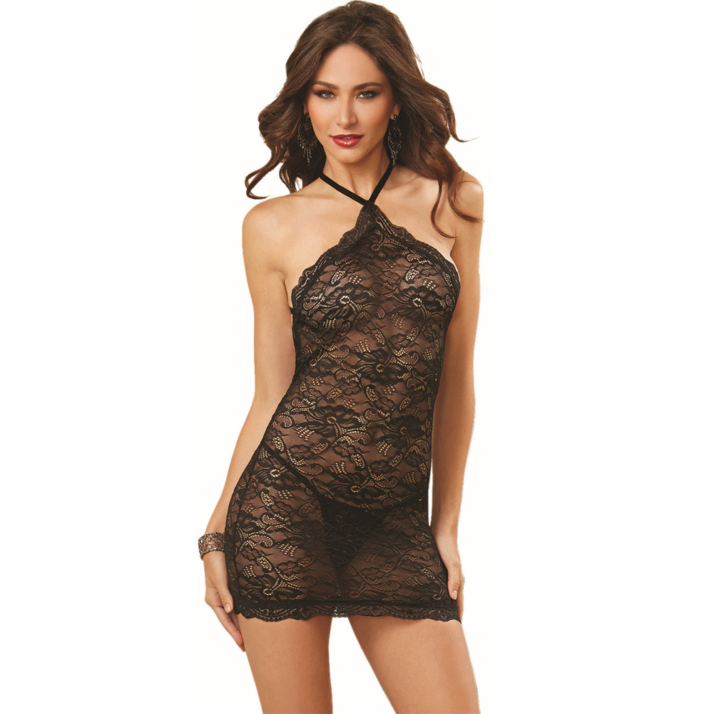 Dreamgirl Lingerie Stretch Lace Chemise with Elastic Criss-Cross Back Straps One Size Black - View #1