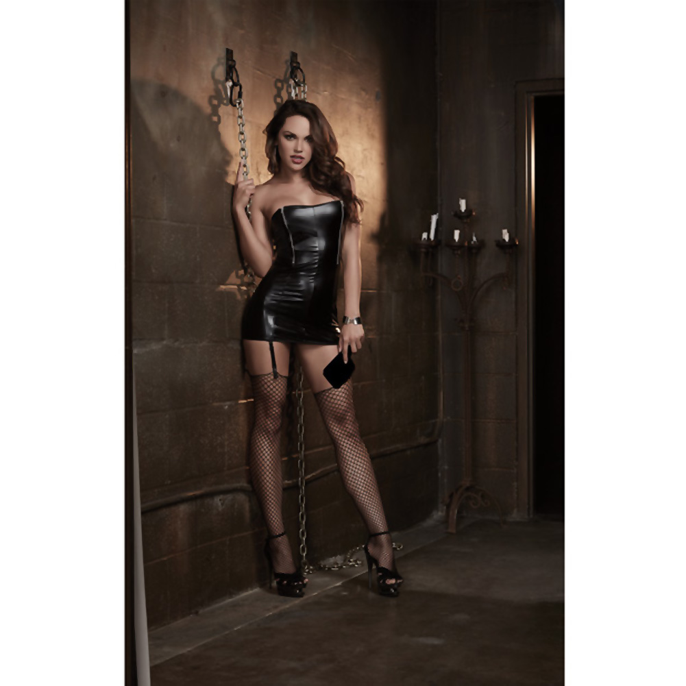 Dreamgirl Lingerie Fetish Faux Leather-Look Stretch Knit Chemise One Size Black - View #3