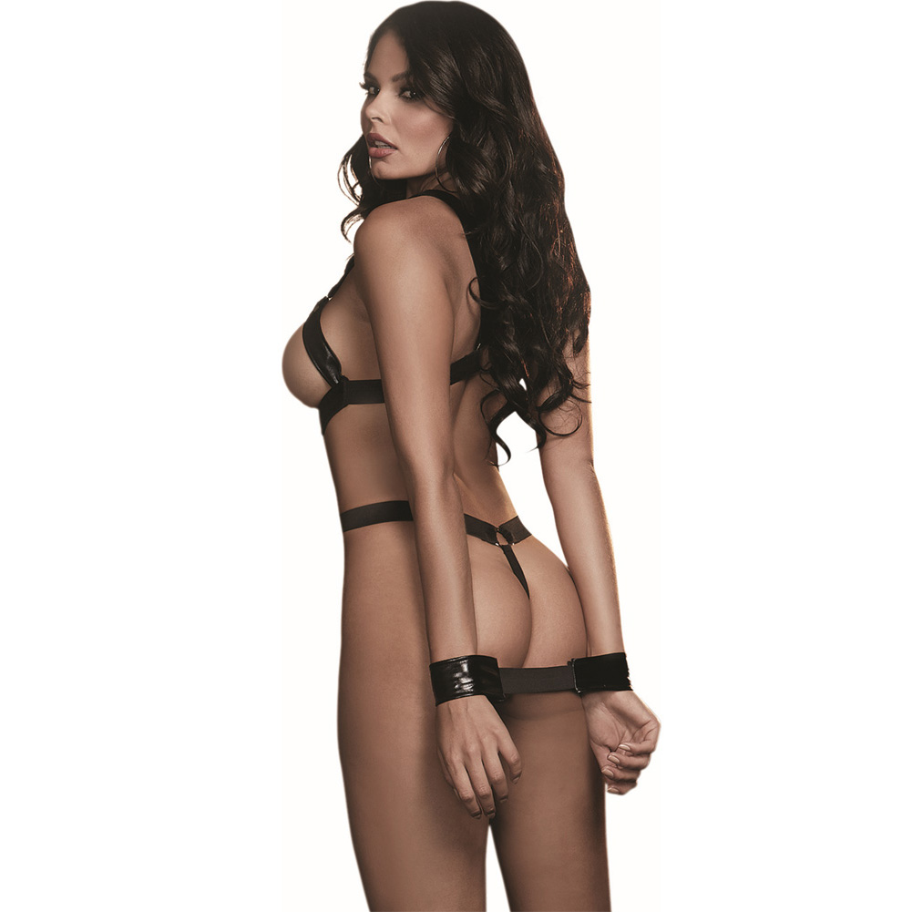 Dreamgirl Lingerie Fetish Faux Leather-Look Strappy Teddy Elastic G-String Back One Size Black - View #2