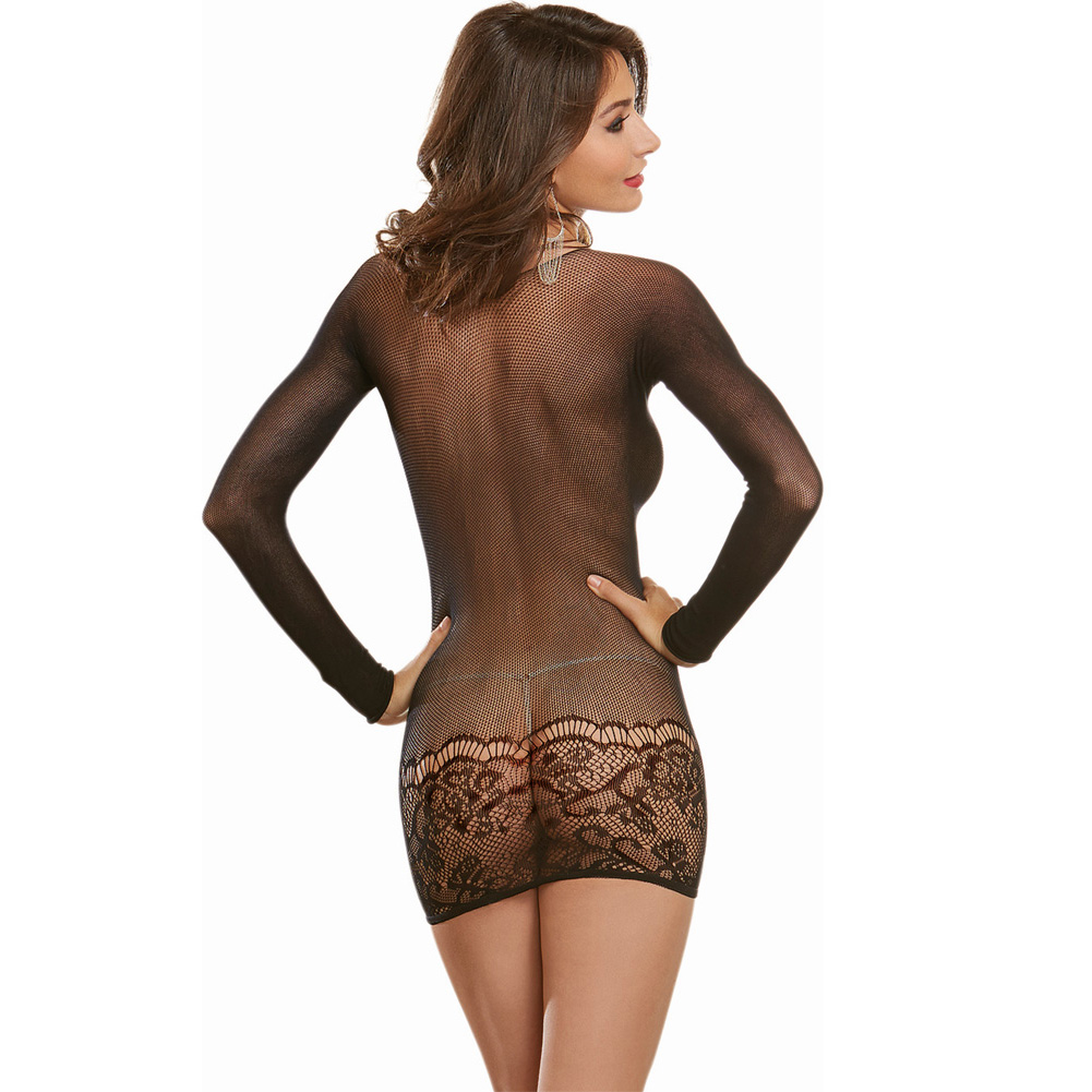 Dreamgirl Lingerie Sheer with Lace Detail Versatile Bodystocking One Size Black - View #2
