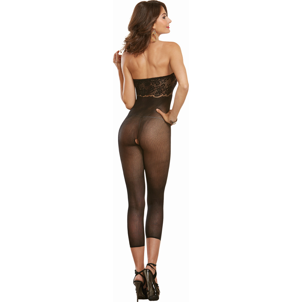 Dreamgirl Lingerie Sheer with Lace Detail Versatile Bodystocking One Size Black - View #4