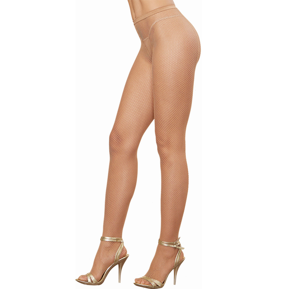 Dreamgirl Lingerie Fishnet Pantyhose with Back Seam One Size Nude - View #2