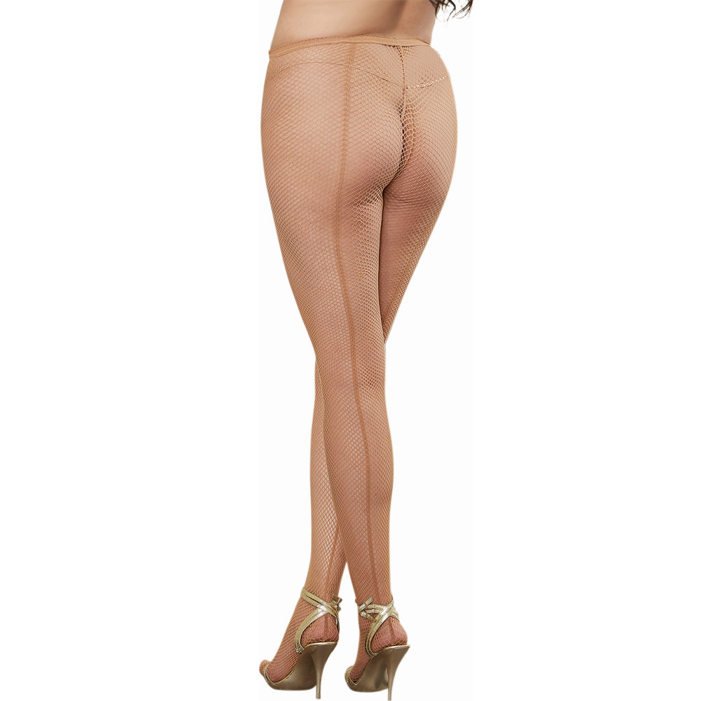Dreamgirl Lingerie Fishnet Pantyhose with Back Seam One Size Queen Nude - View #1