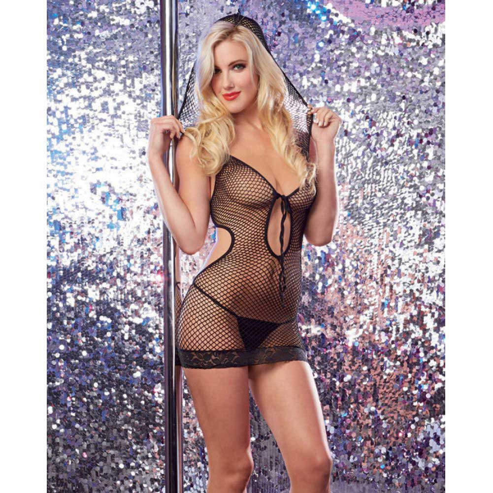 Dreamgirl Lingerie Seamless Fishnet Halter Dress with Attached Hood One Size Black - View #3