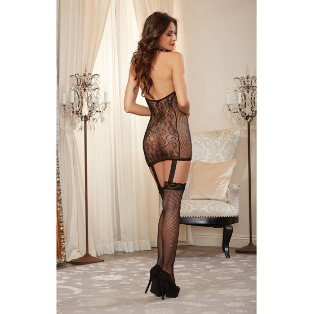Dreamgirl Lingerie Lace Garter Dress with Fishnet Sides and Thigh Highs One Size Black - View #4