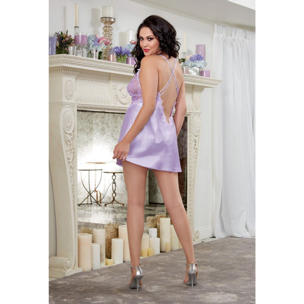 Dreamgirl Satin Charmeuse Chemise and Thong Set with Scalloped Lace Trim 1X/2X Lavender - View #4